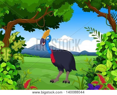 cute peacock cartoon posing with forest landscape background