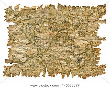 Old pirate map with treasures on grunge, damaged paper. Isolated on white