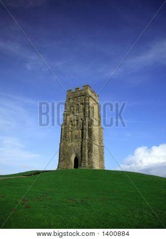 Glastonbury Tor Against A Vivid Blue Sky
