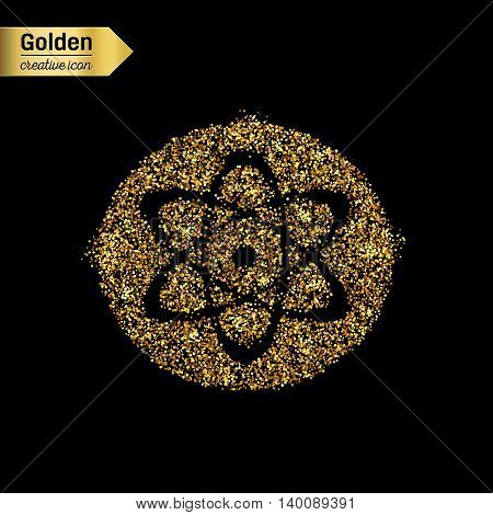 Gold glitter vector icon of atom isolated on background. Art creative concept illustration for web, glow light confetti, bright sequins, sparkle tinsel, abstract bling, shimmer dust, foil.