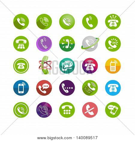 Set of different icons with phone on white backrgound for your site or application
