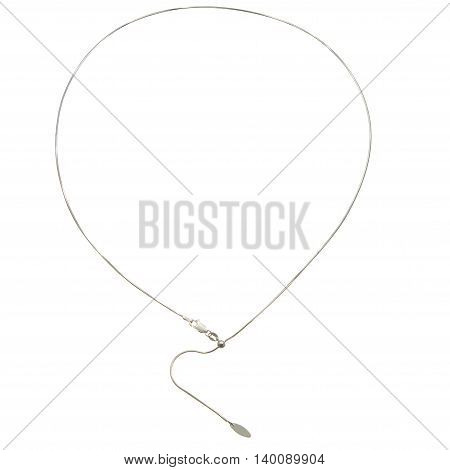 A Silver chain necklace on white background