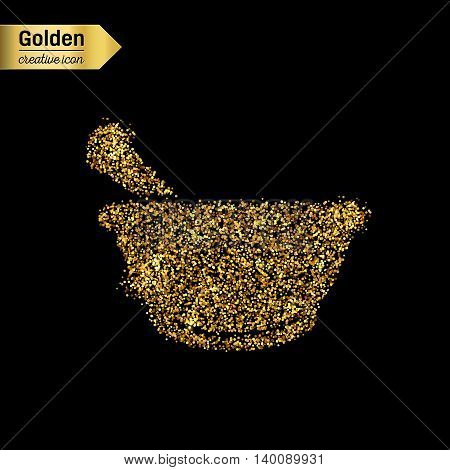 Gold glitter vector icon of mortar isolated on background. Art creative concept illustration for web, glow light confetti, bright sequins, sparkle tinsel, abstract bling, shimmer dust, foil.