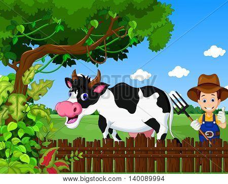 funny farm with cow cartoon and farmer life background