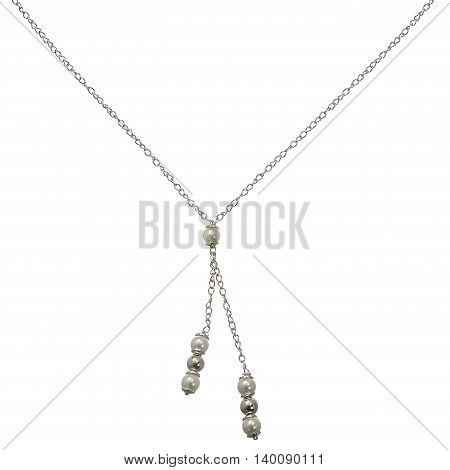A silver chain with tassels on white background