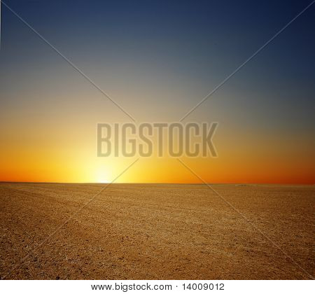 Sunset over dry field