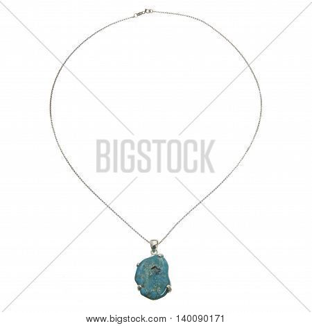 A silver chain with pendant on white background