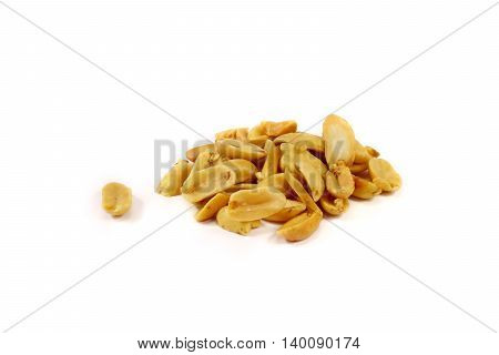 salted peanuts isolated on a white background