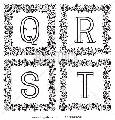 Vintage monograms set. Q R S T outline letters in square floral frames.