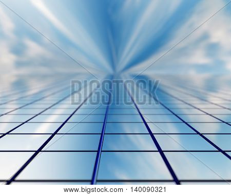 The window of a skyscraper stretching into the future. 3D illustration