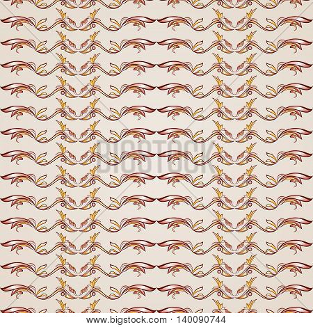 Wavy gorizontal patterns in the form of vines abstact trees on a light beige background
