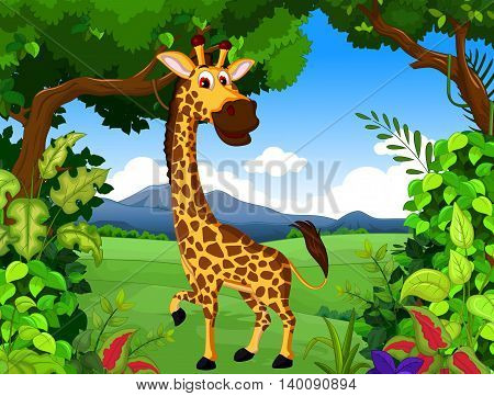 funny giraffe cartoon posing with landscape background