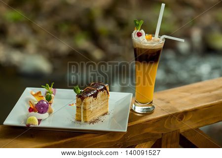 Decorated Dessert And Cocktail