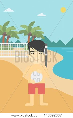 An asian young sportsman holding volleyball ball in hands. Sportive beach volleyball player standing at the shore with voleyball net. Vector flat design illustration. Vertical layout.