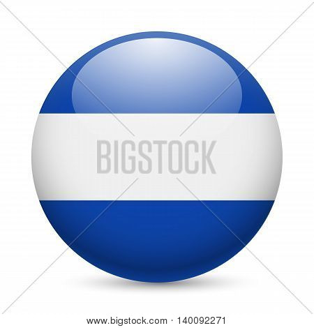 Flag of El Salvador as round glossy icon. Button with Salvadoran flag