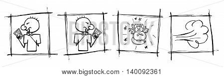 A man playing AR game on his smartphone. Augmented Reality. Searching and catching cute unusual animals. Run ans dust. Vector illustration hand drawn doodle style.