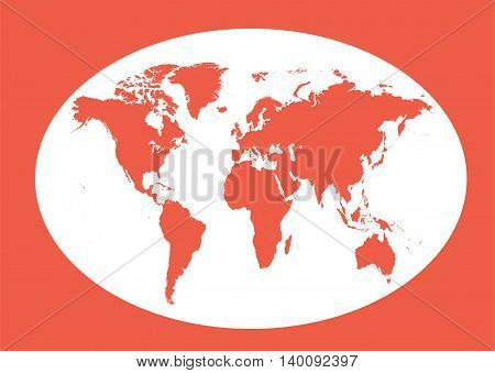 World map planet red color with borders flat design