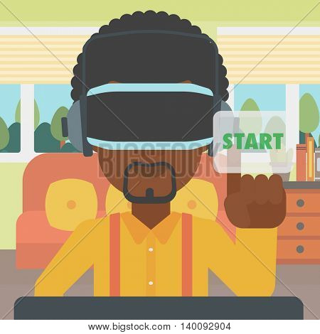 An african-american man wearing virtual reality headset and playing video game. Man in virtual reality headset pushing virtual button start. Vector flat design illustration. Square layout.
