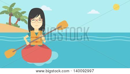 An asian sports woman riding in a kayak in the sea. Young woman traveling by kayak. Female kayaker paddling. Woman paddling a canoe. Vector flat design illustration. Horizontal layout.