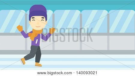 An asian young man ice skating on indoor ice skating rink. Sport and leisure concept. Vector flat design illustration. Horizontal layout.