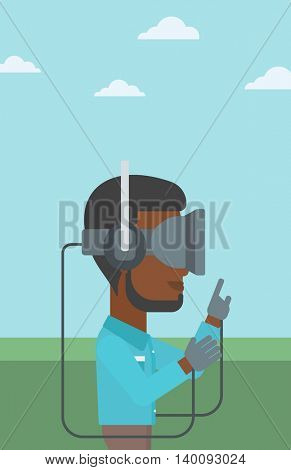 An african-american man wearing a virtual reality headset. Man playing video games outdoor. Man wearing gamer gloves. Vector flat design illustration. Vertical layout.
