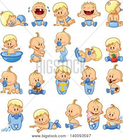Vector illustration of baby boys and girls.