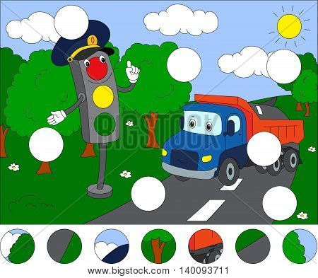 Cartoon Lorry And Traffic Lights. Complete The Puzzle And Find The Missing Parts Of The Picture. Gam