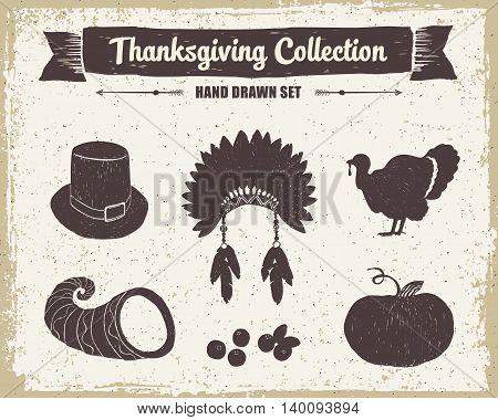 Hand drawn textured vintage Thanksgiving set of pilgrim hat Indian head piece turkey cornucopia cranberries and pumpkin vector illustrations.