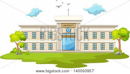 beautiful university cartoon with green grass landscape background