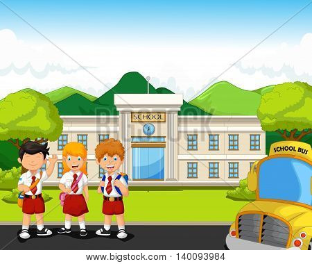 tree two student with school bus and school building background