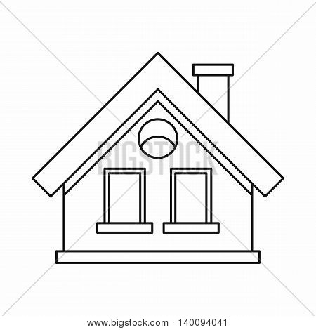 Small cottage icon in outline style on a white background