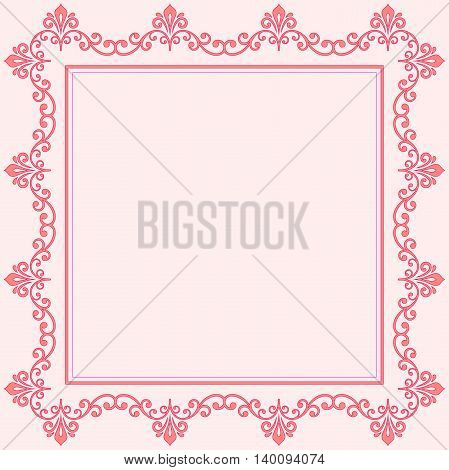 Classic vector square frame with arabesques and orient elements. Abstract fine ornament with place for text. Pink pattern