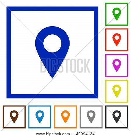 Set of color square framed Location pin flat icons