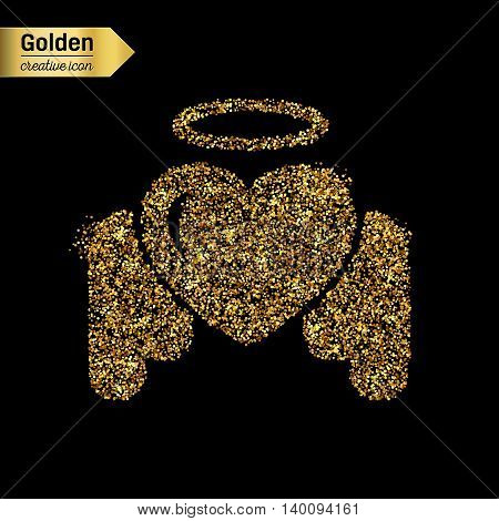 Gold glitter vector icon of angel heart isolated on background. Art creative concept illustration for web, glow light confetti, bright sequins, sparkle tinsel, abstract bling, shimmer dust, foil.