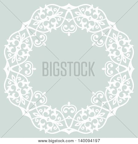 Elegant vector ornament in the style of barogue. Abstract traditional pattern with oriental elements. Light blue and white pattern
