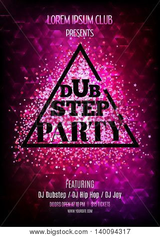Dubstep party. Night club flyer template. Vector illustation with glitter and sparkles.