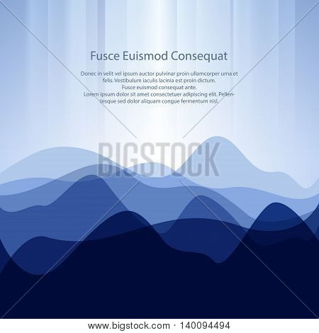 Blue Abstract Design Creative Background from Waves and Text ,Business Concept, Vector Illustration