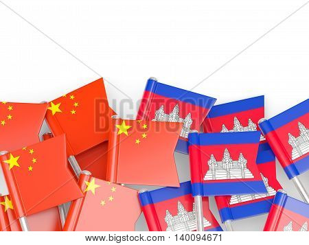 Flags Of China And Cambodia Isolated On White