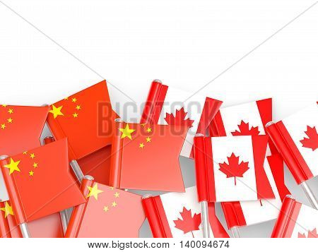 Flags Of China And Canada Isolated On White