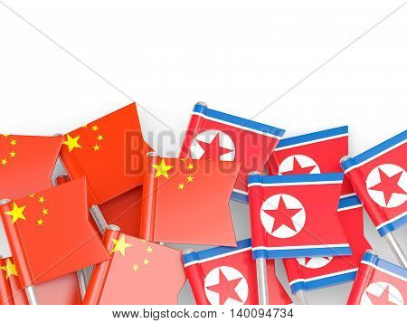 Flags Of China And North Korea  Isolated On White