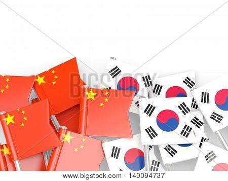 Flags Of China And South Korea Isolated On White
