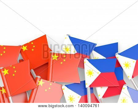 Flags Of China And Philippines Isolated On White