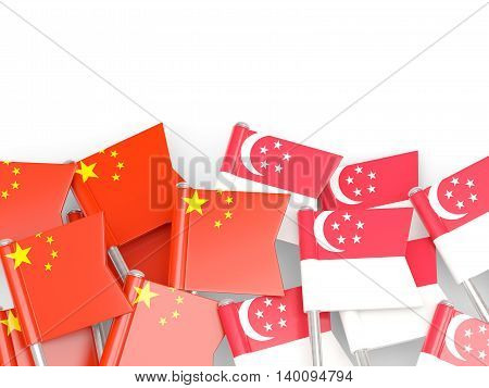 Flags Of China And Singapore  Isolated On White