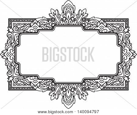 Ethnic template for design wedding invitations and greeting cards. Henna flowers mehndi elements of vintage patterns. Indian or Asian motif. Vector illustration.