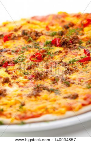 Pizza with Meats and Vegetables