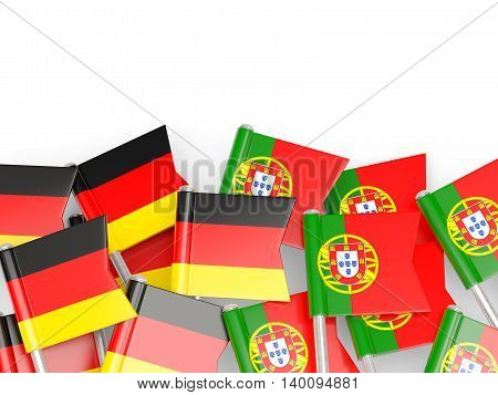 Flags Of Germany And Portugal  Isolated On White