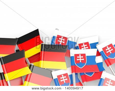Flags Of Germany And Serbia  Isolated On White