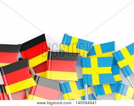 Flags Of Germany And Sweden  Isolated On White