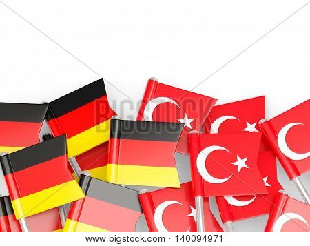Flags Of Germany And Turkey  Isolated On White