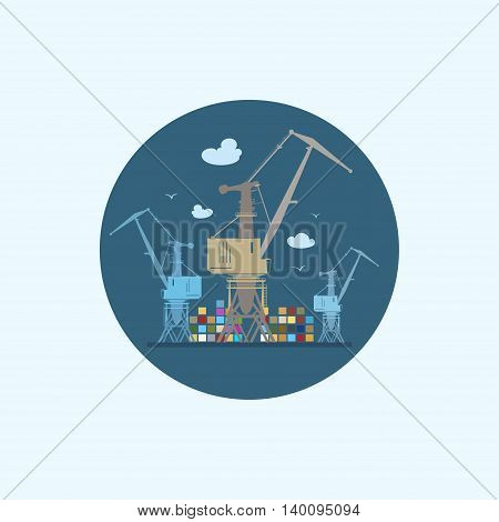 Round icon with colored cargo cranes and containers ,logistics icon